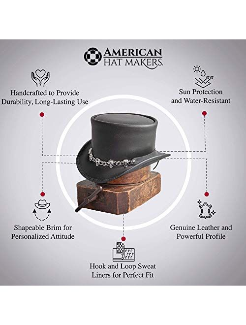 American Hat Makers El Dorado Leather Top Hat with 5 Skull Band — Handcrafted
