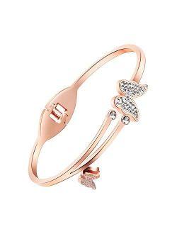 RIMAYZI Rose Gold Plated Bracelets for Women Teen Girls, Gold Bracelets, Birthday Jewelry Gifts for Women Mom Wife Girls Sister