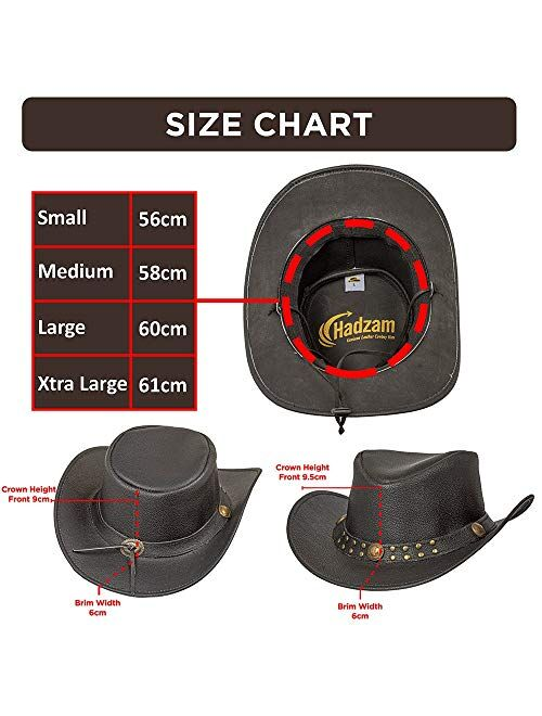 HADZAM Shapeable Outback Western Style Leather Cowboy hat for Men and Women Old Style