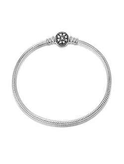 NINAQUEEN 925 Sterling Silver Basic Snake Chain Bracelet with Black Clasp Charms Fit Pandora Charms