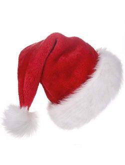 BALORAY Santa Hat for Adults Big Santa Hat Comfort Double Liner Plush Red Velvet for Christmas Gift