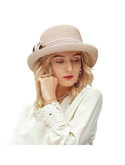 Women's Summer Straw Bowler Hat Beach Bucket Wedding Tea Party Cap