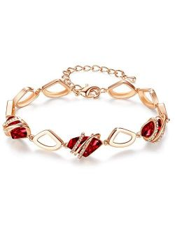 """Leafael Wish Stone Link Charm Bracelet with Birthstone Crystals, Rose Gold Plated or Silver-Tone, 7""""+2"""""""