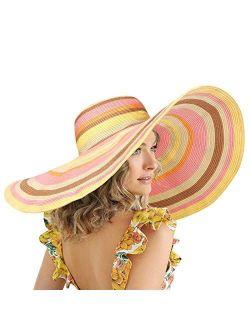 FEMSÉE Oversized Rainbow Beach Hats for Women - Wide Brim Sun Hats Roll-up Foldable Floppy Paper Straw Summer Hat