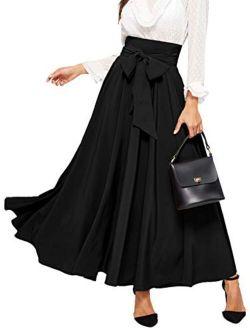 Women's Elegant High Waist Skirt Tie Front Pleated Maxi Skirts
