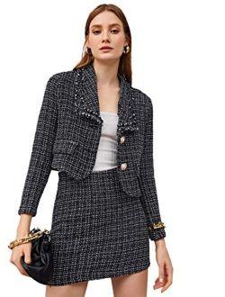 Women's Business Suit 2 Pieces Tweed Blazer Jacket Coat And Skirt Set