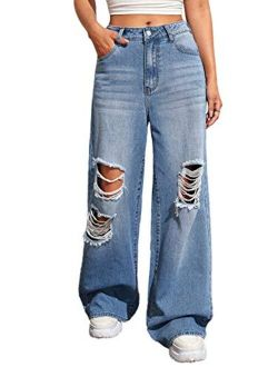 Women's Casual Loose Ripped Denim Pants Distressed Wide Leg Jeans