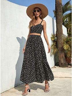 Women's Boho 2 Piece Outfits Off Shoulder Pleated Crop Top With Wide Leg Pants