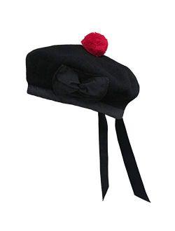 BALMORAL SCOTTISH BLACK 100% WOOL HAT CAP/Highland Balmoral Hat