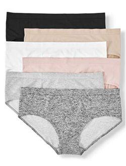 Basics 6 Pair Full Figure Seamless Hipster Panties