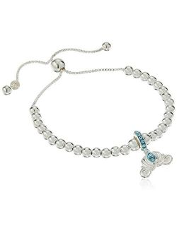Sterling Silver Cinderella Carriage Beaded Lariat Charm Bracelet
