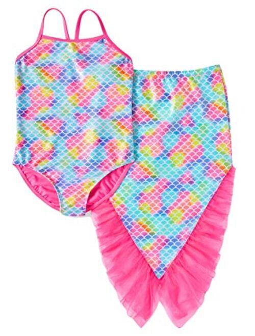Wonder Nation Girls BB Pink Mermaid One-Piece Swimsuit & Skirt Coverup 2-Piece Set
