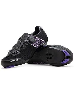 Tommaso Pista Aria Elite Knit Quick Lace Women's Indoor Cycling Ready Cycling Shoe and Bundle with Compatible Cleat, Look Delta, SPD - Black, Purple
