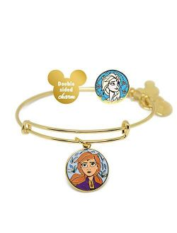 Nd Ani Disney Parks Anna And Elsa Sister's Love - Double Sided Charm Bangle - Charm Bracelet Jewelry Gift (gold Finish)