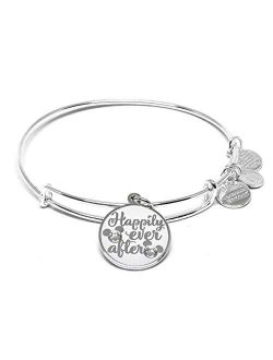 Nd Ani Disney Parks Disney Princess Happily Ever After Bangle - Inspirational Quote - Charm Bracelet Jewelry Gift (silver Finish)