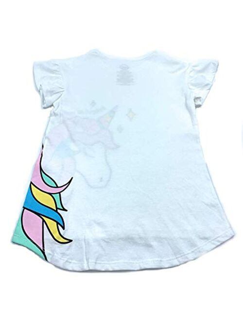 Wonder Nation Flippy Sequin Unicorn Short Sleeve Shirt for Girls