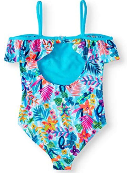 Wonder Nation Tropic Dream Cold-Shoulder Splendor Blue One-Piece Swimsuit