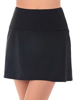 Women's Swimwear Fit And Flair Swim Skirt Tummy Control Bathing Suit Bottom With Zippered Pocket