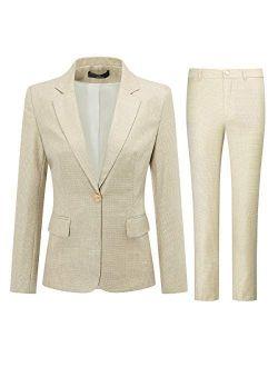 Women's 2 Piece Plaid Office Suit Set One Button Blazer Jacket and Suit Pants