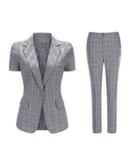Women's 2 Piece Plaid Suit Set Short Sleeve 1 Button Blazer and Business Suit Pants