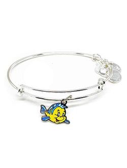Nd Ani Disney Parks Under The Sea Flounder Fish Bangle - Best Friend Of Ariel The Little Mermaid - Charm Bracelet Jewelry Gift (silver Finish)