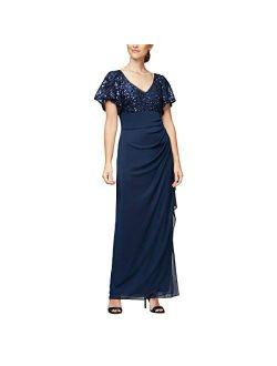 Women's Long Sequin Dress With Flutter Sleeves