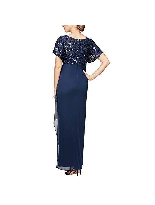 Alex Evenings Women's Long Sequin Dress with Flutter Sleeves