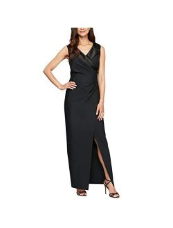 Women's Slimming Long Side Ruched Dress With Cascade Ruffle Skirt