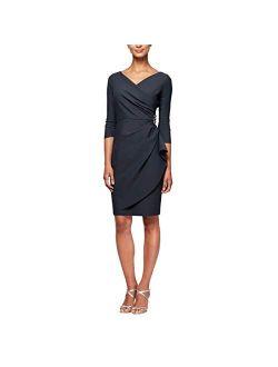 Women's Slimming Short Sheath 3/4 Sleeve Dress With Surplus Neckline