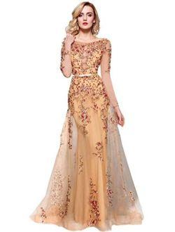 Meier Women's Illusion Long Sleeve Embroidery Prom Formal Dress