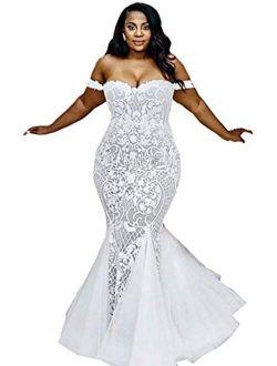 Modeldress Women's Short Lace Wedding Dresses Corset Back Tea Length Beach Bridal Gowns
