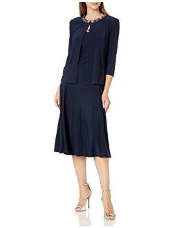 Women's 2 Piece Tea Length Jacket Dress With Sequin Beaded Trim