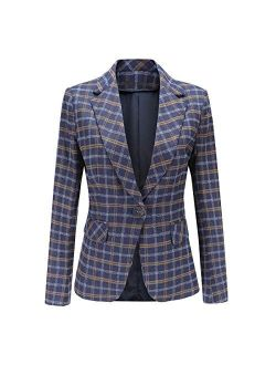 Women's Single Breasted One Button Plaid Suit Jacket Office Blazer Jacket