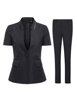 Women's Short Sleeve Blazer Jacket and Pants 2 Piece Summer Suit Set