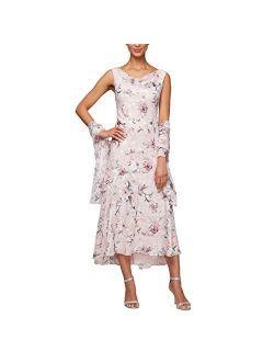 Women's Tea Length Printed Chiffon Dress With Shawl