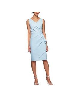 Women's Slimming Short Ruched Dress With Ruffle (petite And Regular)