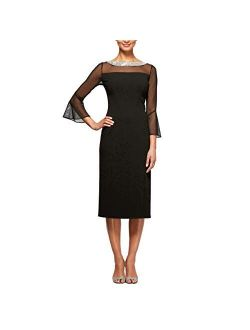 Women's Short Shift Dress With Embellished Illusion Detail