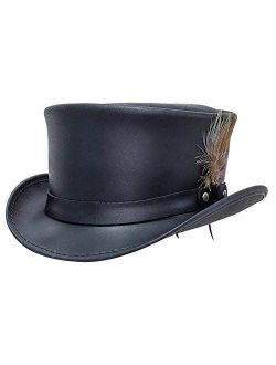 American Hat Makers Marlow Leather Top Hat with LT Band — Handcrafted, Genuine Leather, Highly Durable