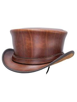 American Hat Makers Hampton Leather Top Hat for Men and Women — Handcrafted