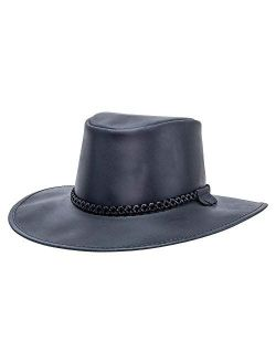 American Hat Makers Weatherproof Crusher Outback Leather Hat for Men and Women