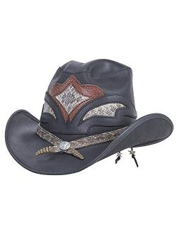 American Hat Makers Storm Leather Cowboy Hat with Rattlesnake Skin Band — Handcrafted, Genuine Leather