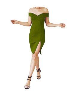 Yuki Isabelle Women's Off Shoulder Cocktail Dress Side Split Mini Bodycon Short Party Evening Gowns