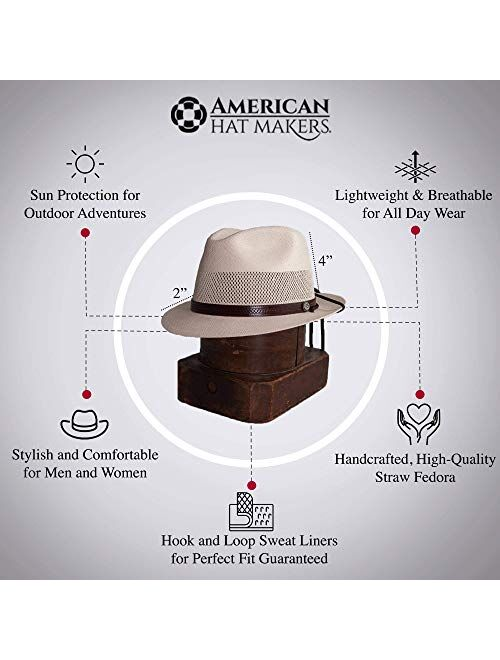 American Hat Makers Tuscany Straw Fedora Hat - Handcrafted, UV Sun Protection
