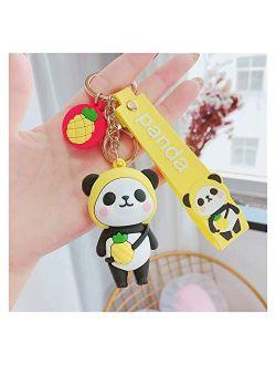 YSDSPTG Keychain Creative Cartoon Keychain Cute Panda Silicone Animal Doll Keyring Key Chain Car Key Backpack Pendant Trinket Women Men Gift Interior Accessories (Color :
