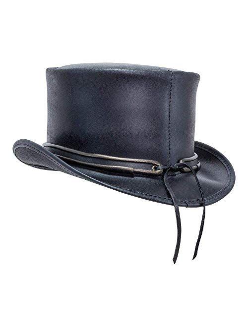 Voodoo Hatter El Dorado-Eye Band by American Hat Makers Black Leather Top Hat
