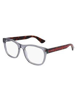 0004o 004 Transparent Light Grey Plastic Square Eyeglasses 53mm