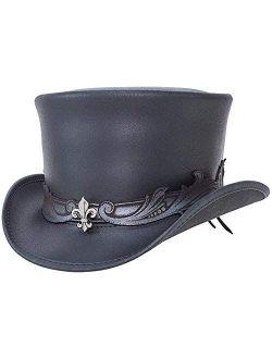 The El Dorado Leather Top Hat — Stylish hat with Pewter Fleur De Lis Band Centerpiece.