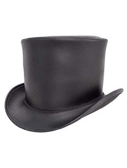 American Hat Makers Topper Top Hat, Unbanded — Tall, Handcrafted, Genuine Leather