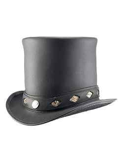 Voodoo Hatter Black Stove Piper Top Hat with Rattelsnake Band