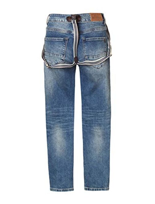 FUNKY BUDDHA Regular Straight Fit Jeans with Destroyed Effects
